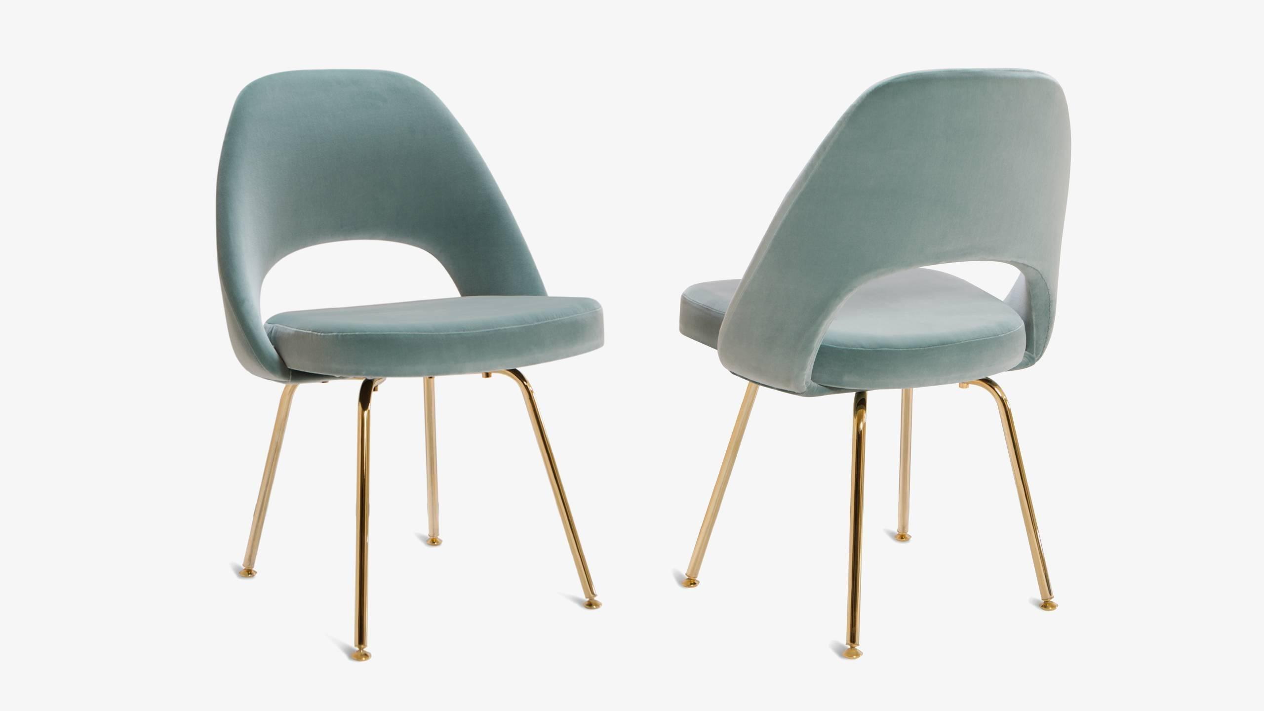 Saarinen Executive Armless Chairs In Celadon Velvet 24k Gold Edition Set Of 6