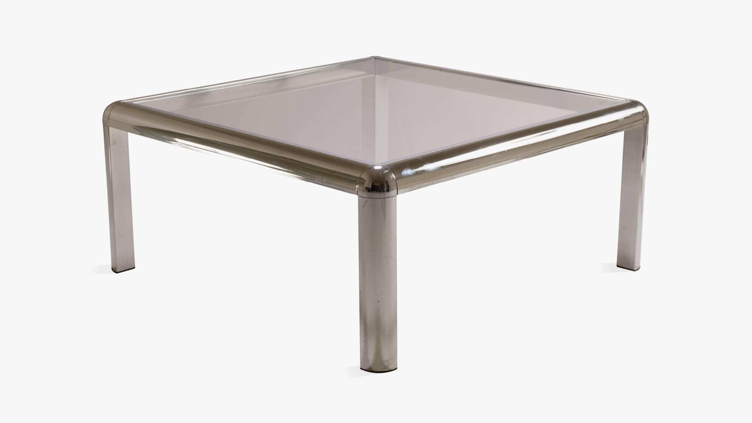 Midcentury Square Chrome Cocktail Table With Rounded Frame 2