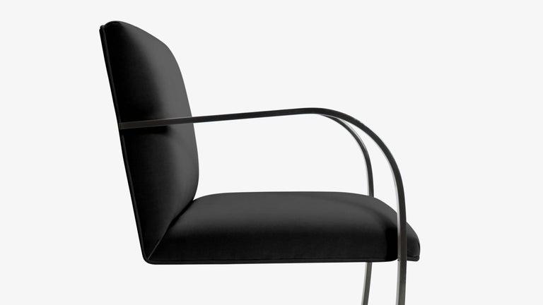 Powder-Coated Brno Flat-Bar Chairs in Noir Velvet, Obsidian Gloss Frame, Set of Ten For Sale