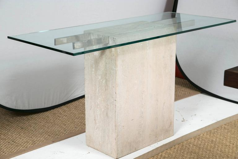 Travertine And Chrome Console Table By Ello Furniture At