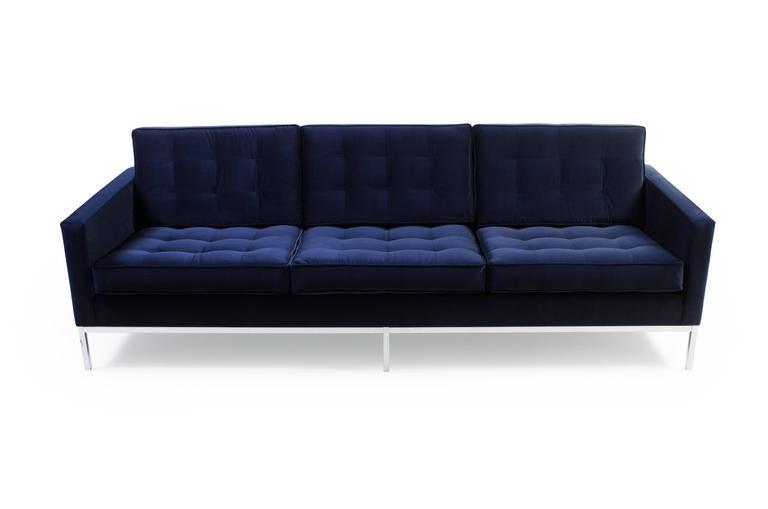Mid Century Modern Florence Knoll Sofa In Navy Velvet For