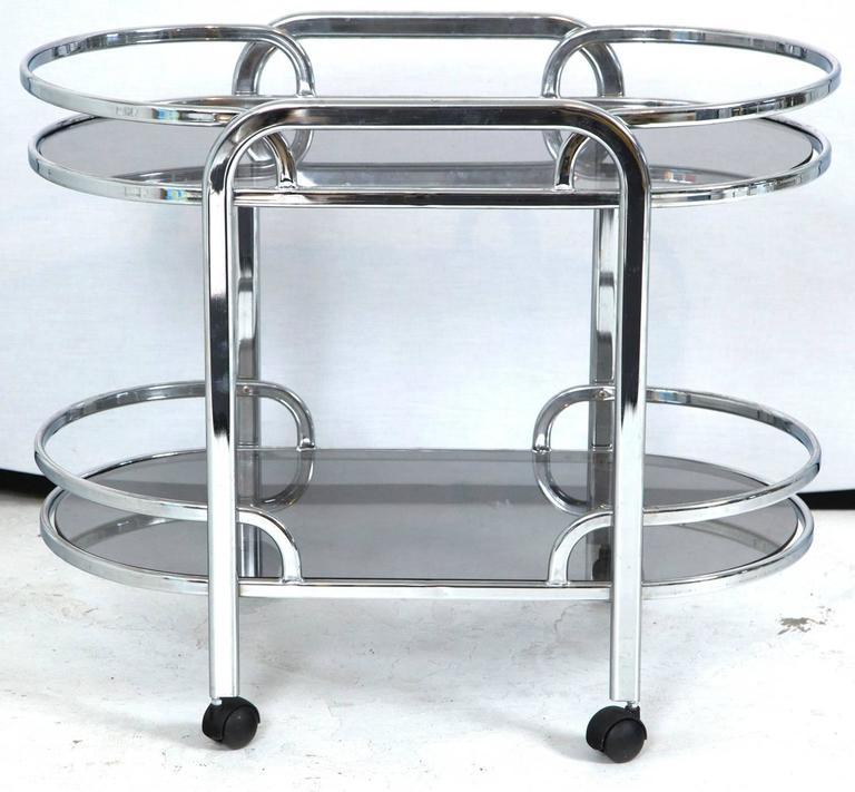 Vintage Art Deco Chrome Bar Cart At 1stdibs