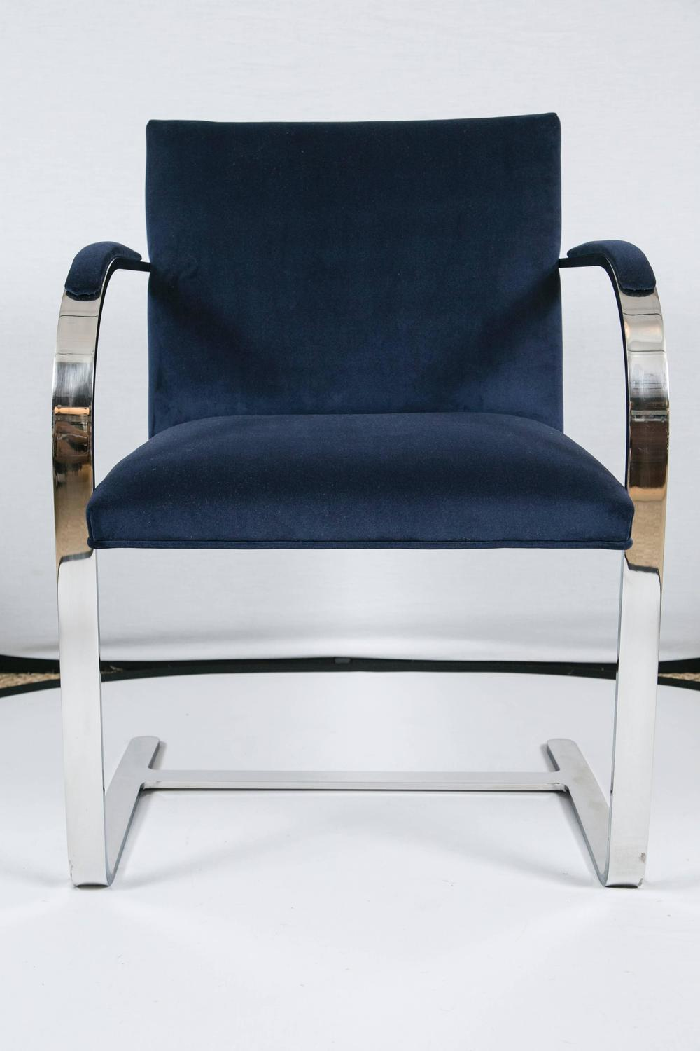 Brno Flat Bar Chairs In Navy Velvet Set Of Six For Sale At 1stdibs