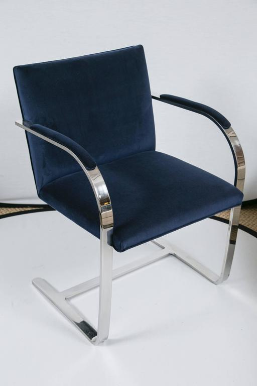 American Brno Flat Bar Chairs in Navy Velvet, Set of Six For Sale