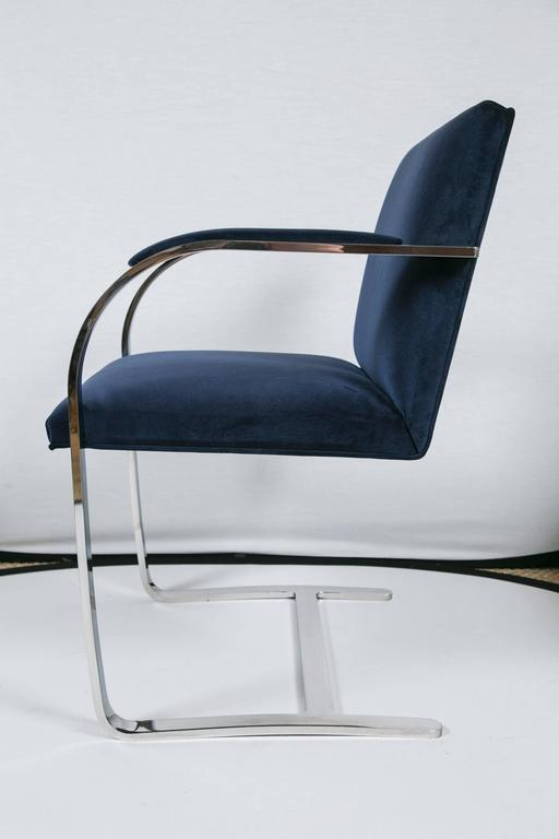 Brno Flat Bar Chairs in Navy Velvet, Set of Six For Sale 1