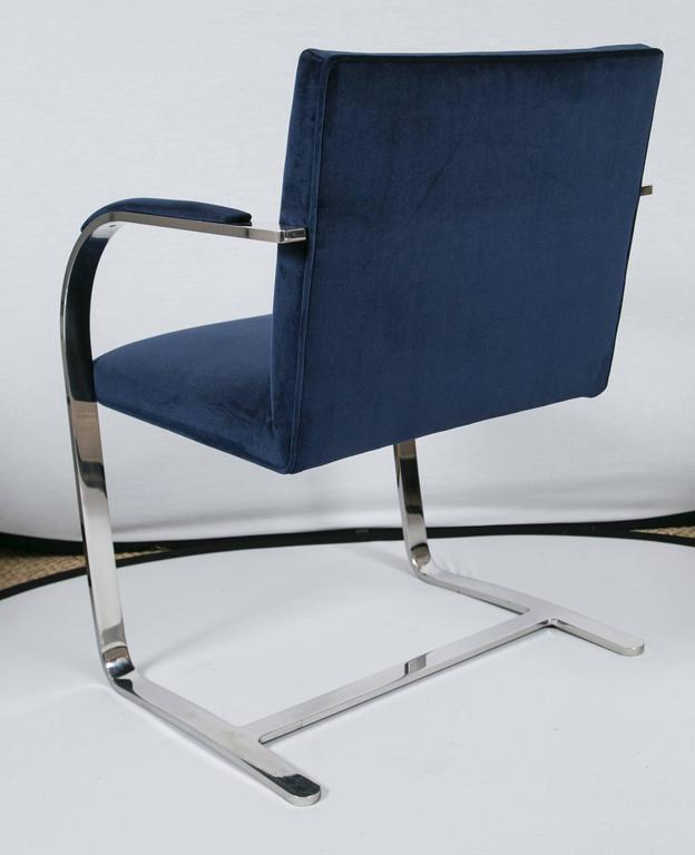 Chrome Brno Flat Bar Chairs in Navy Velvet, Set of Six For Sale