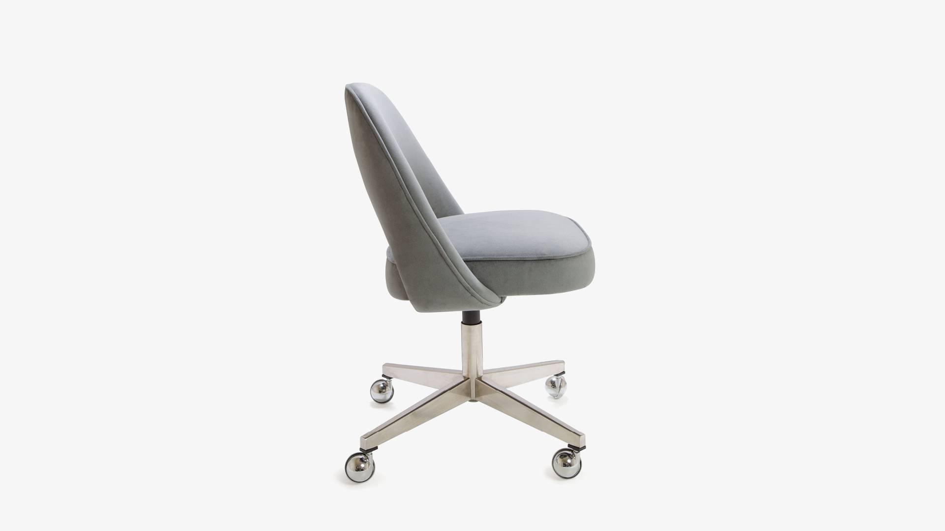 saarinen executive armless chairs in gray moleskin swivel base set