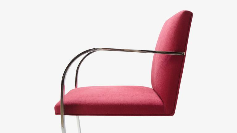 Contemporary Mies van der Rohe for Knoll Brno Flat-Bar Chairs in Merlot Herringbone Wool, S/6 For Sale