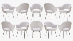 Saarinen Executive Arm Chairs in Dove Luxe-Suede, Set of Ten