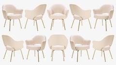 Saarinen Executive Arm Chairs in Bone Luxe-Suede, 24k Gold Edition, Set of Ten