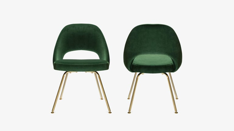 Mid-Century Modern Saarinen Executive Armless Chairs in Emerald Velvet, 24k Gold Edition, Set of 6 For Sale