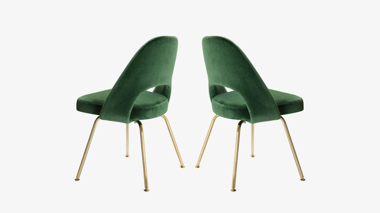 American Saarinen Executive Armless Chairs in Emerald Velvet, 24k Gold Edition, Set of 6 For Sale