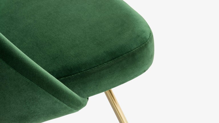 Gold Plate Saarinen Executive Armless Chairs in Emerald Velvet, 24k Gold Edition, Set of 6 For Sale