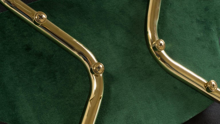 Saarinen Executive Armless Chairs in Emerald Velvet, 24k Gold Edition, Set of 6 For Sale 1