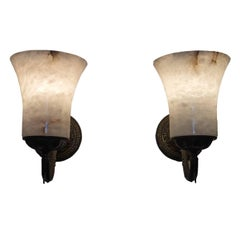 Pair of Alabaster Torch Sconces