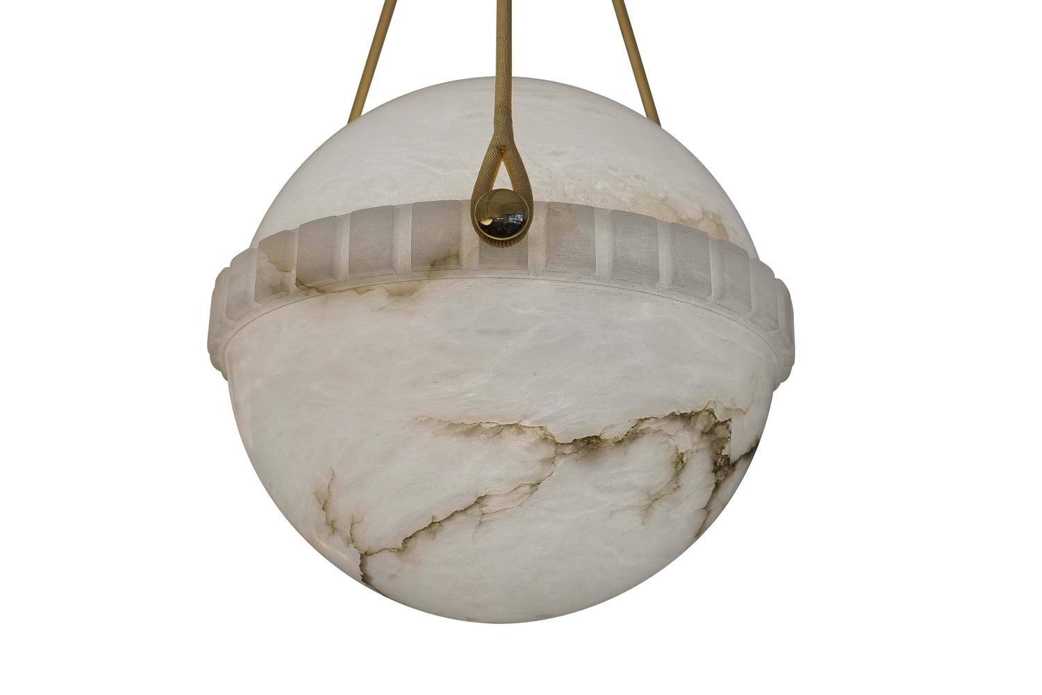 Lighting fixture globes : Swedish alabaster globe light fixture at stdibs
