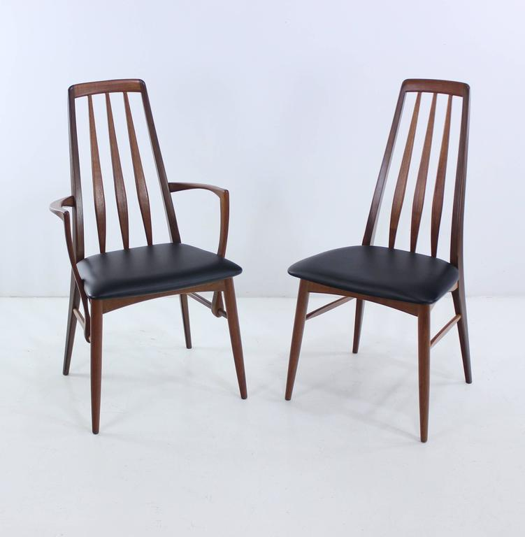 Set of six danish modern high back dining chairs designed for High back dining room chairs with arms