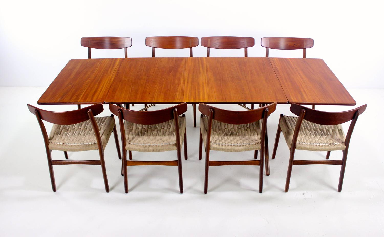 danish modern eight chair dropleaf dining set designed by hans wegner