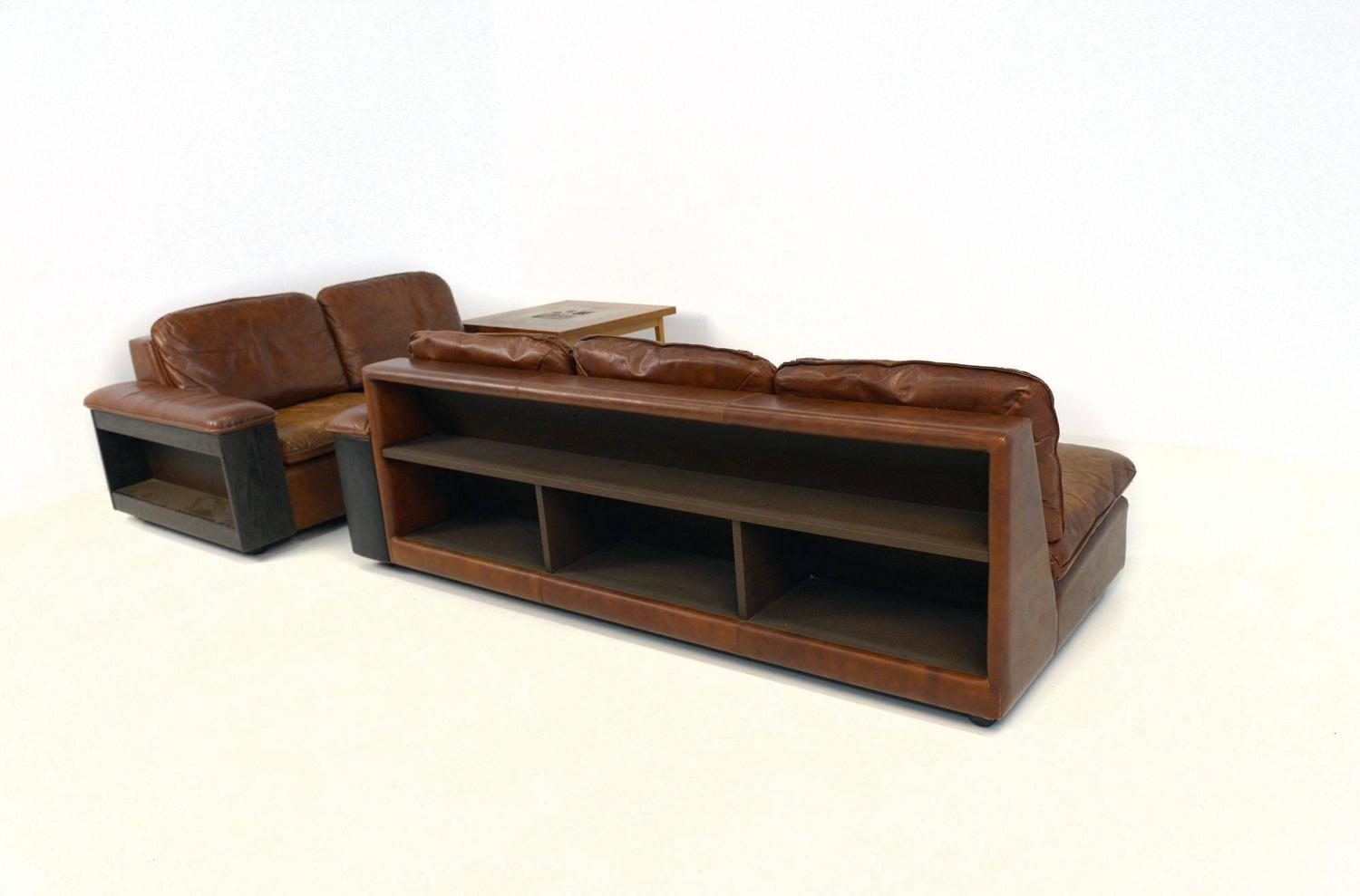 Cool Leather Sofa with Bookcase in the Back Two Parts For