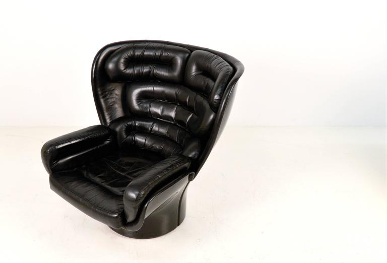 Cool All Black Elda Lounge Chair by Joe Colombo fort Italy at 1stdibs