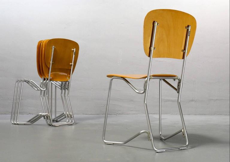 Beautiful Armin Wirth Aluflex Six Folding Stacking Chairs