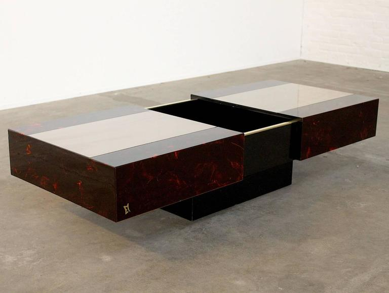 Late 20th Century Eric Maville Sliding Coffee Table with Liquor Storage For Sale