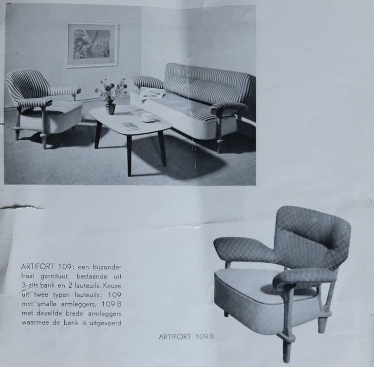 4 Zits Bank Design.Rare Three Seat Sofa Model 109 By Theo Ruth For Artifort Dutch