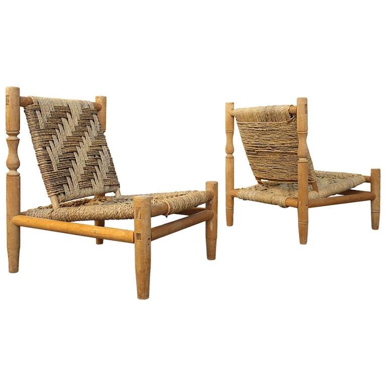Fine Charlotte Perriand Style Pair Of Easy Chairs At 1Stdibs Inzonedesignstudio Interior Chair Design Inzonedesignstudiocom