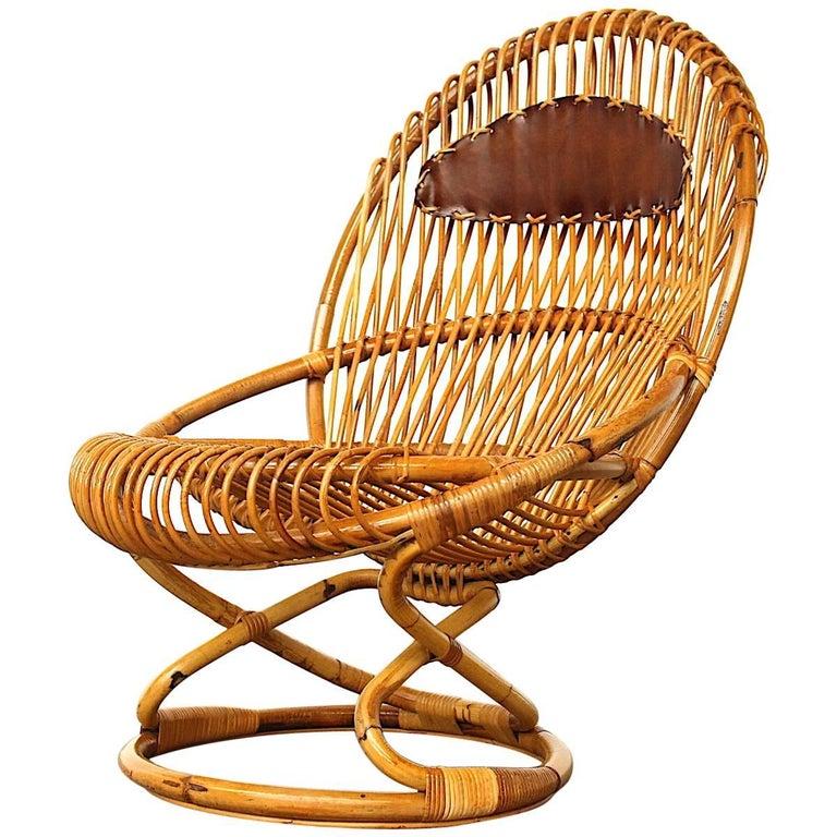 Giovanni Travasa for Bonacina Wicker Easy Chair, circa 1950