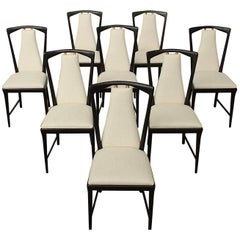 Set of Eight Mahogany Osvaldo Borsani Dining Chairs