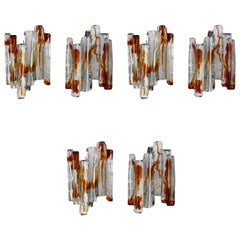 Set of Five Sculptural Murano Glass Wall Sconces by Mazzega