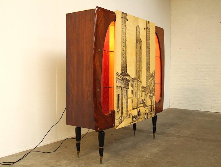 Mid-Century Modern Piero Fornasetti Style High Cupboard Featuring the Medieval Twin Towers For Sale