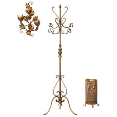 Entrance Hall Set Consisting of Coat Stand, Umbrella Rack and Wall Sculpture