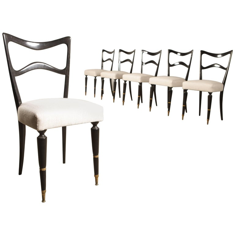 Set of 6 Dining Chairs Attributed to Osvaldo Borsani For Sale