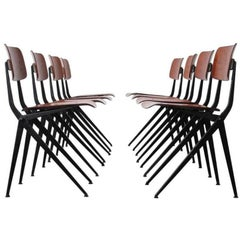 Jean Prouvé Style Rare Compass Leg Dining Chairs