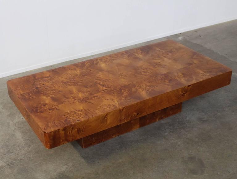 Beautiful chic Hollywood style burl wood coffee or cocktail table with flattened edges in the style of Willy Rizzo.