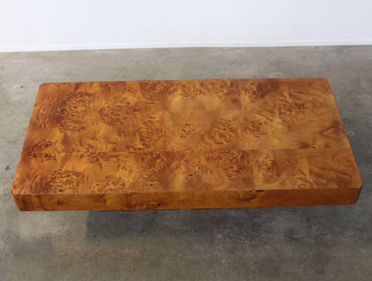 Hollywood Regency Rectangular Burl Wood French Coffee Table For Sale