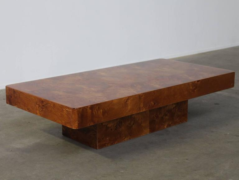Late 20th Century Rectangular Burl Wood French Coffee Table For Sale