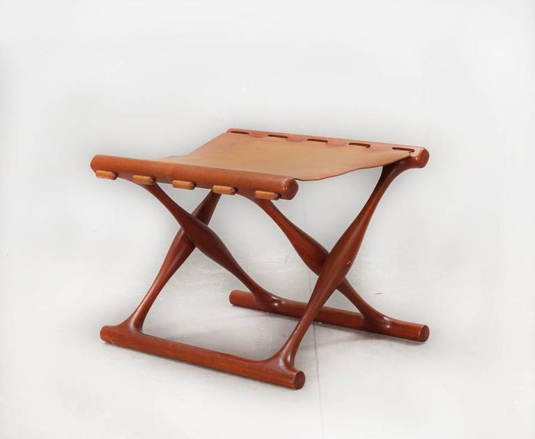 Gold Hill Folding Stool by Poul Hundevad In Good Condition For Sale In Amsterdam, NL