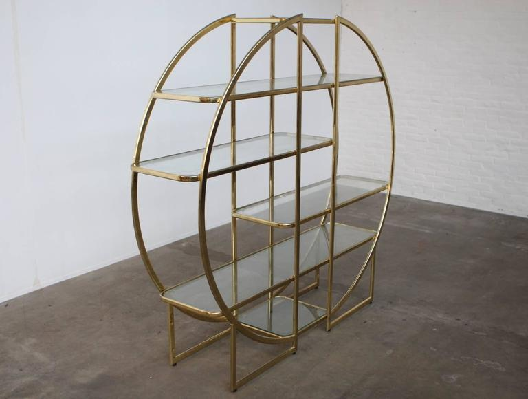 Circular Brass Etagere with Glass Display Shelves at 1stdibs
