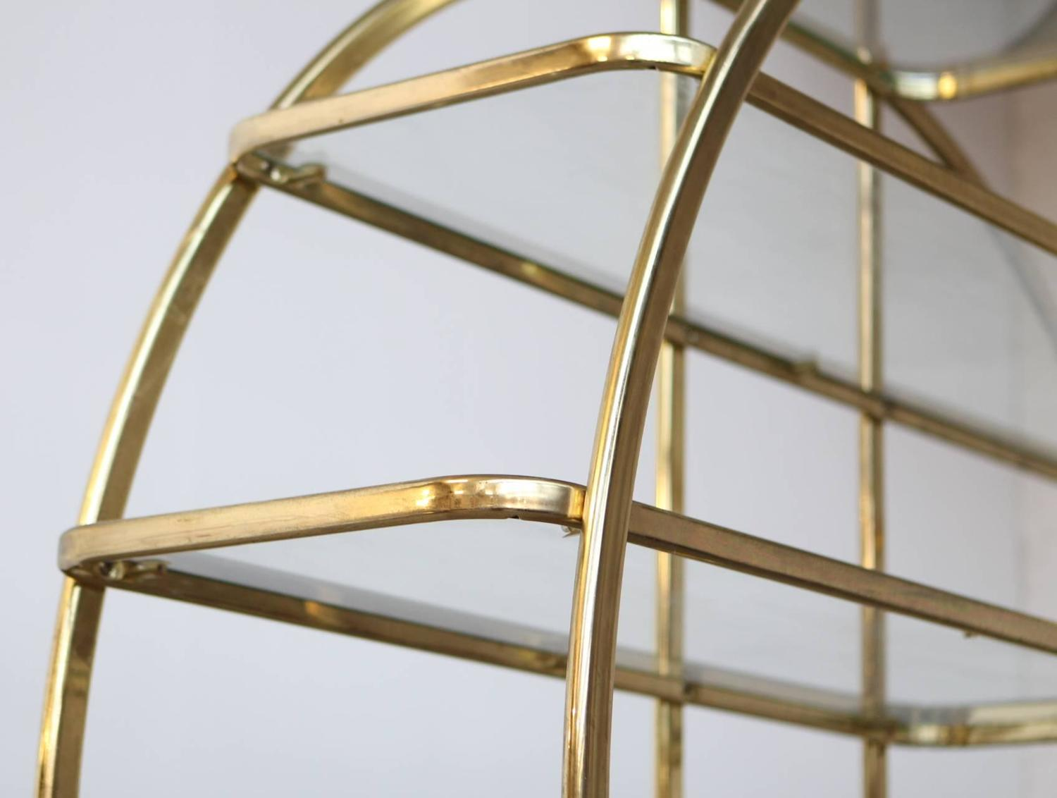 Circular brass etagere with glass display shelves for sale - Etagere 6 cases ...