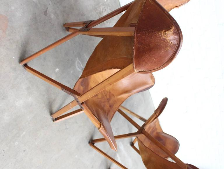 Leather Very Rare Original 'Tripolina' Chairs by Joseph Fendy for Paolo Viganò, Signed For Sale