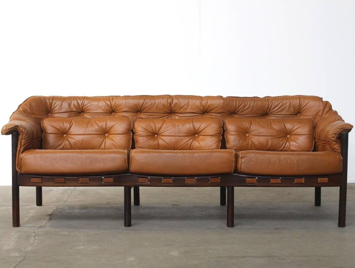 - Tufted Leather Camel Colored Three-Seat Arne Norell Sofa At 1stdibs