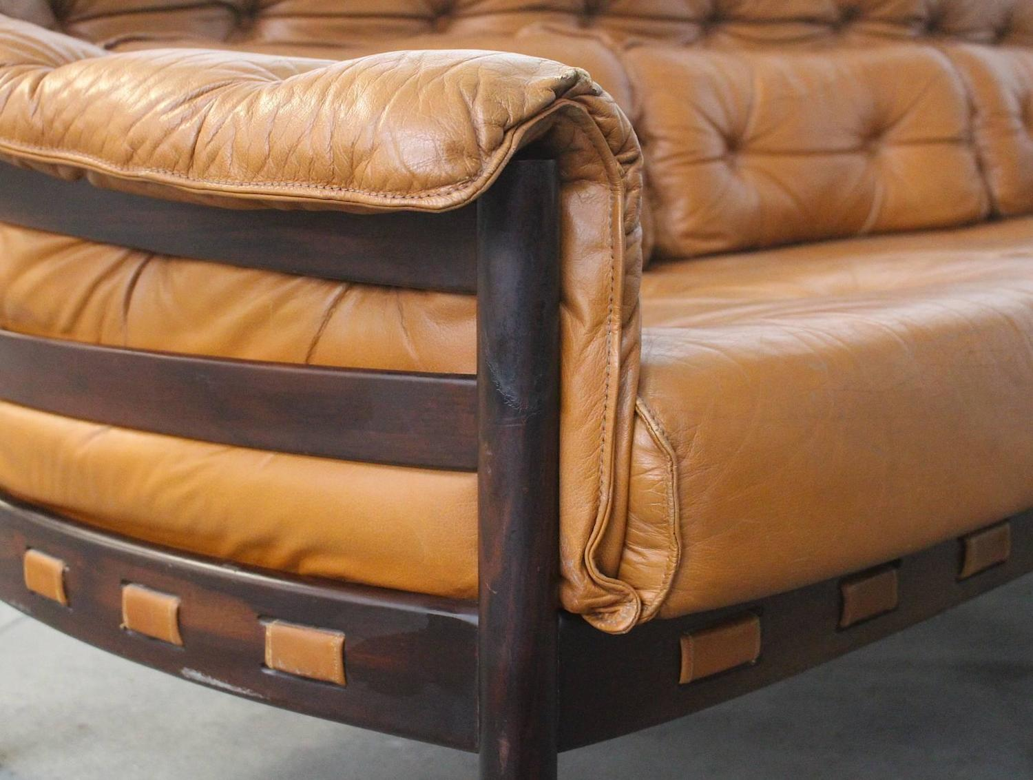 Tufted Leather Camel Colored Three-Seat Arne Norell Sofa