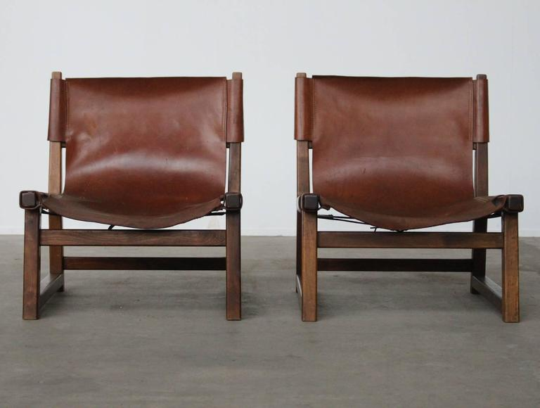 Mid Century Modern Pair Of Beautiful Tanned Leather Swedish Oak Hunting  Chairs For Sale