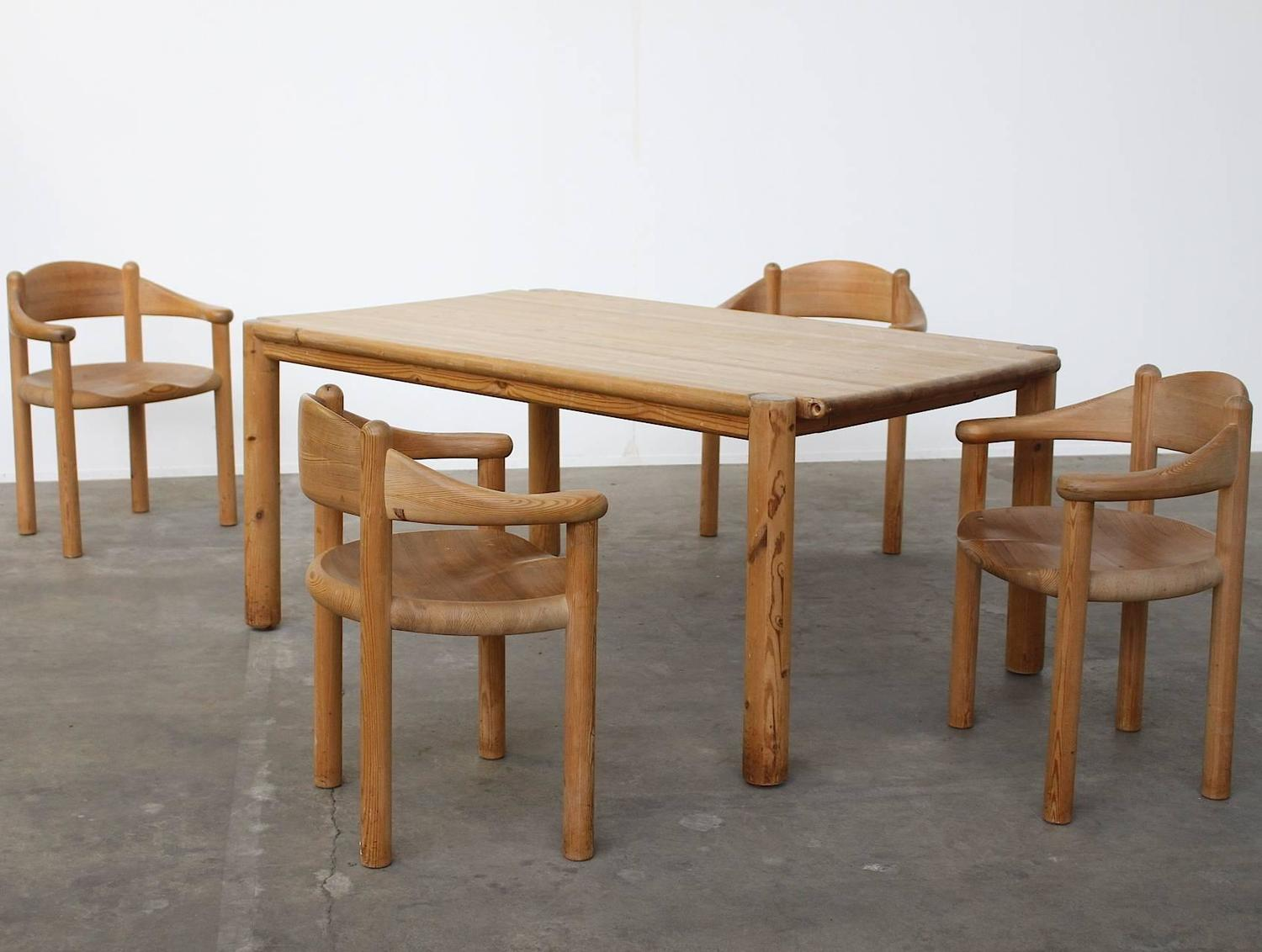 Pine Dining Table Set: Rare Rainer Daumiller Pine Dining Set Of A Table And Four