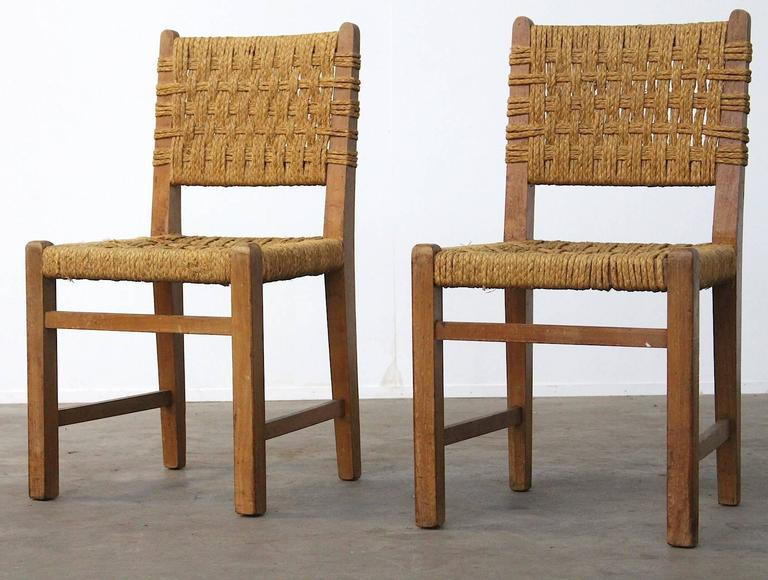 Oak Very Rare Pair of Side Chairs by Audoux et Minet Sisal Rope for Vibo Vesoul For Sale