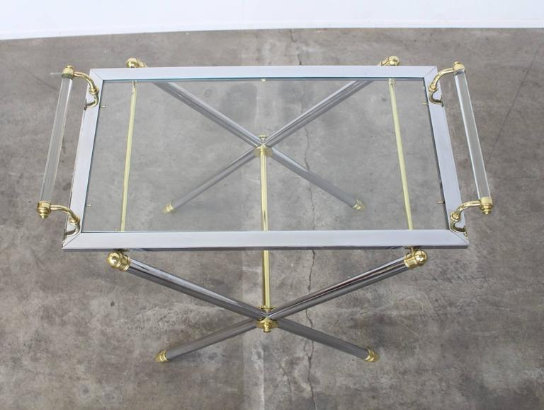 Hollywood Regency Serving Tray Table Brass and Glass by Charles Hollis Jones For Sale
