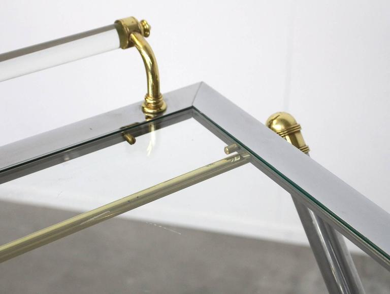 Serving Tray Table Brass and Glass by Charles Hollis Jones In Excellent Condition For Sale In Amsterdam, NL