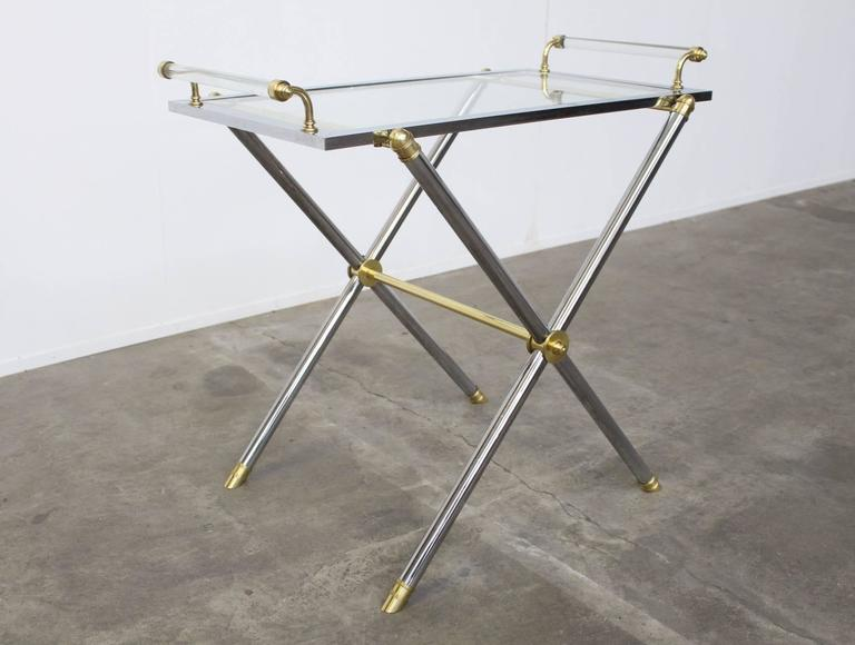 Mid-20th Century Serving Tray Table Brass and Glass by Charles Hollis Jones For Sale